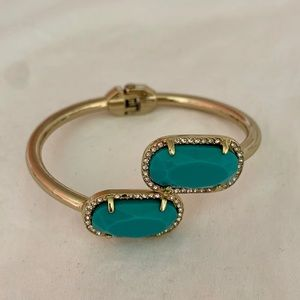 Fossil Open Cuff Bracelet in Turquoise and Gold